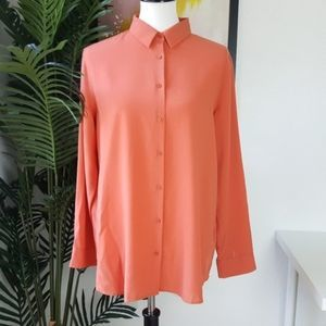 Uniqlo Orange Button Up Collared High Low Shirt L